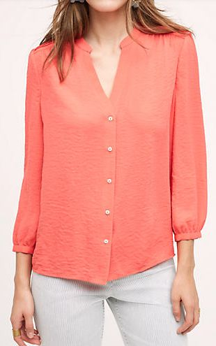 silky orange buttondown blouse