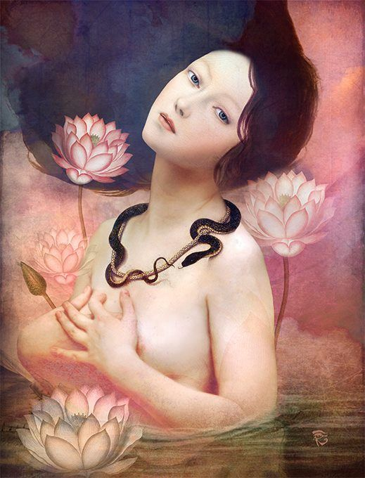 """ The Serpent Lake "" by Christian Schloe - Lotus flowers grow and blossom out of the muddy waters...like people who emerge beautiful and peaceful as they struggle through and overcome obstacles. The symbol ""Om"" from the Buddhist mantra to stand for love, kindness and protection...this symbolism is also said to purify hatred and anger.:"