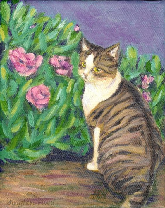 "4x6 print 5x7 cat art painting print ""a cat looking back at a garden"" dorm wall decor art"