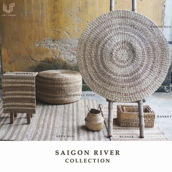 """""""Let the river flows run through your living space, bringing along alluvial richness, aqua freshness and all natural beauty. Being inspired by the beauty of river, our artisans """"sketch"""" it on their rugs, poufs and baskets with various stripes patterns created by different weaving techniques on mixed natural fibres  The collections are created by:  100% natural fibres 0% chemical substances 100% handwoven Stunning craftsmanship at one of the oldest traditional weaving village in Vietnam"""