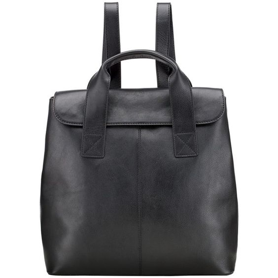 Kin by John Lewis Ragna Leather Backpack, Black ($140) ❤ liked on Polyvore featuring bags, backpacks, leather backpack, black bag, black knapsack, leather knapsack and black leather rucksack