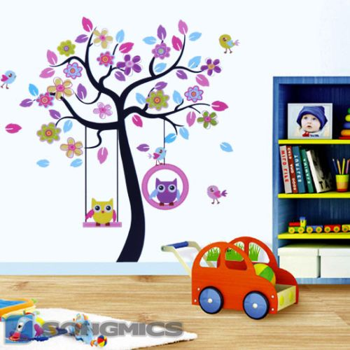 wandtattoo eule baum f r kinderzimmer cartoon wandsticker wandaufkleber fwt009 ebay b ume. Black Bedroom Furniture Sets. Home Design Ideas