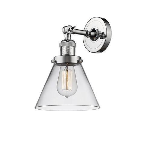 Innovations Lighting Large Cone Polished Chrome Led Wall Sconce With Clear Cone Glass 203 Pc G42 Led In 2020 Sconces Bathroom Sconces Wall Sconce Lighting