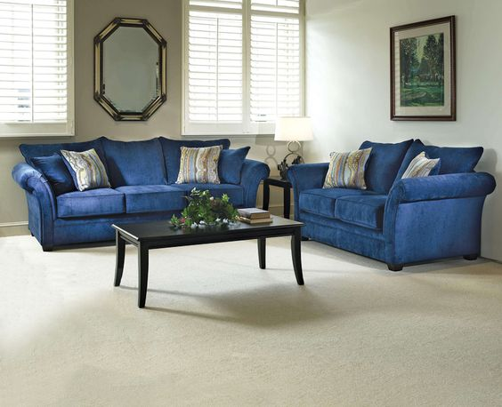 The Elizabeth Royal Blue Living Room Set. Fit For A Queen! #Home
