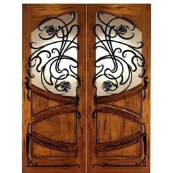 front entry Art Nouveau solid mahogany double door with forged iron
