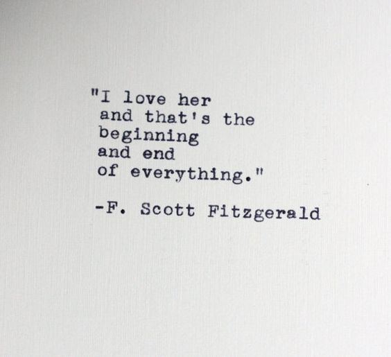 F. Scott Fitzgerald quote typed on a vintage typewriter:
