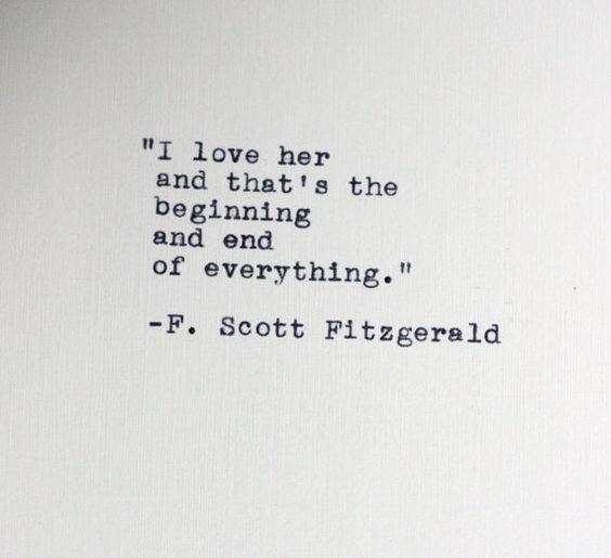 F. Scott Fitzgerald quote typed on a vintage typewriter: