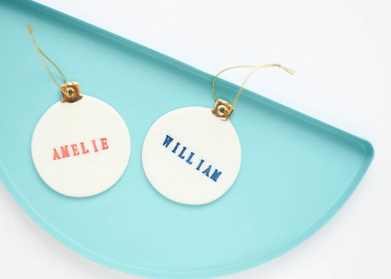 Single Personalised Christmas bauble decoration, real gold lustre porcelain, made by Delphine and Max