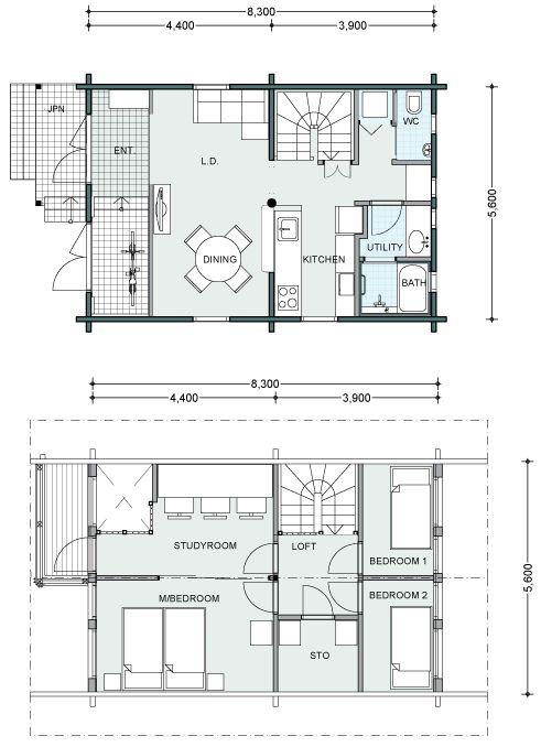 ホンカ ログハウス ミエリ 2 間取り 小さな家の間取り 平面図