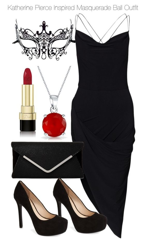 Katherine Pierce Inspired Masquerade Ball Outfit by staystronng on Polyvore featuring polyvore, fashion, style, Masquerade, Jessica Simpson, Bling Jewelry, Dolce&Gabbana, women's clothing, women's fashion, women, female, woman, misses, juniors, tvd and KatherinePierce