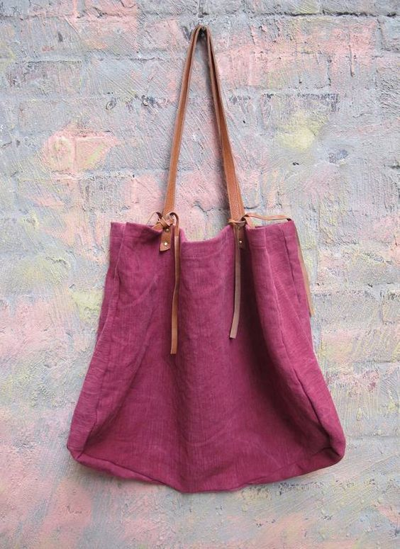 maroon & leather tote