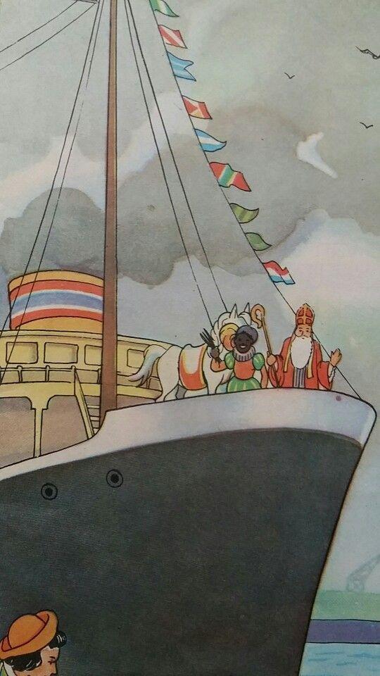 Zie ginds komt de stoomboot met Sinterklaas en Pieterbaas
