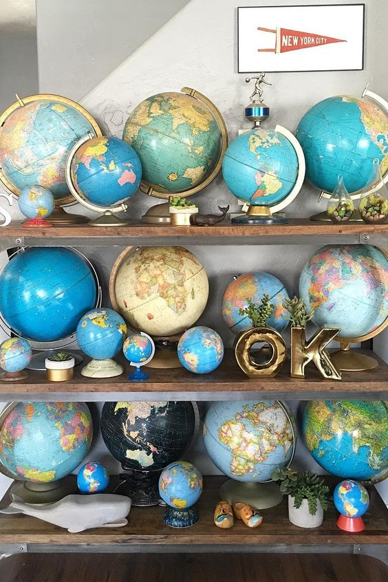 Vintage world globes for a coffee room: