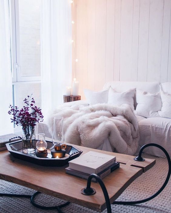 Fur throw, fall decor