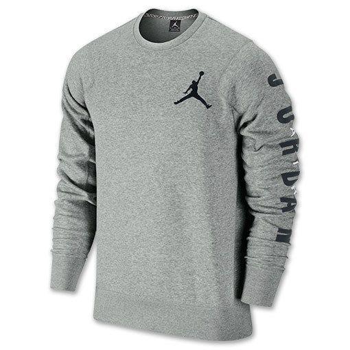 Jordan Flight Classic Fleece Crew Men's Sweat Shirt 2XL Grey/Black  [619445-063