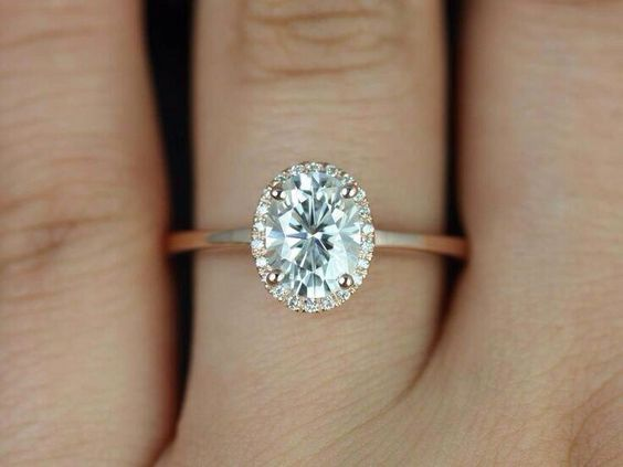 Celeste 8x6mm 14kt Rose Gold Oval FB Moissanite and Diamonds Pave Halo Engage