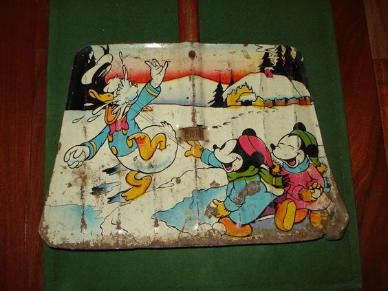 ***1930's MICKEY MOUSE AND DONALD DUCK SNOW SHOVEL, WALT DISNEY ENTERPRISES**