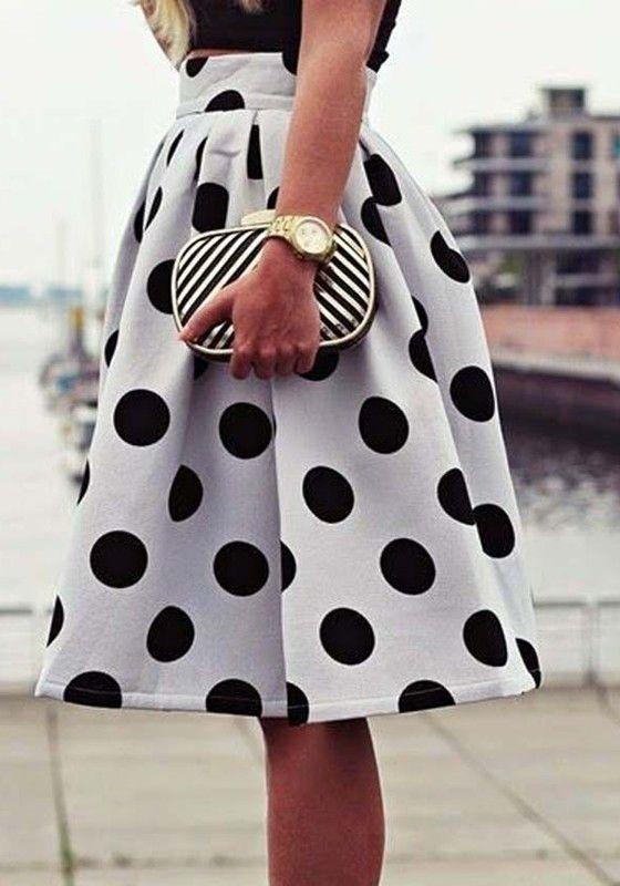White Polka Dot Print Draped Knee Length Fashion Classic Mini Skirt