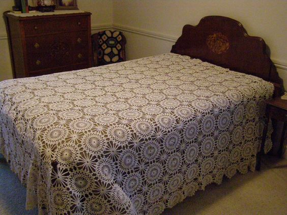 Vintage Over Sized Hand Crocheted Bedspread Coverlet in White Cotton Thread by parkie2 on Etsy