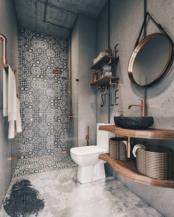 Mosaic Black And White Tiles Covering The Shower Wall And Floor Make It Stand Out Small Bathroom Remodel Designs Bathroom Remodel Designs Steampunk Bathroom