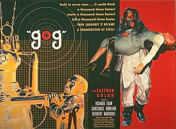 Gog (1954) is known for both its scientific accuracy, for that time period, and the fact that it was filmed in 3D, but mostly shown flat. Saboteurs attempt to cripple the building of a space station by taking control of two robots, Gog and Magog.