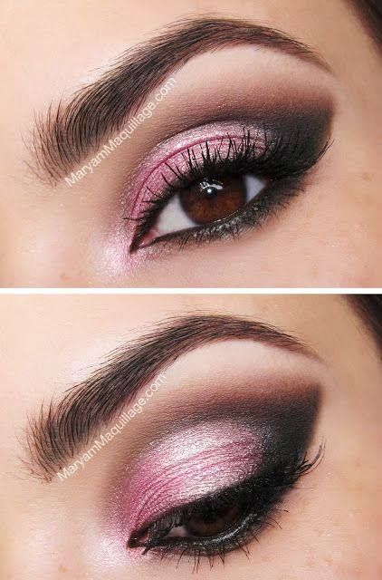 Love the shade of pink with the cat eye, eye shadow! #promgirl #makeup #eyes