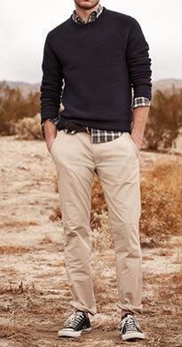 Casual outfit for fall: plaid shirt, knit, khaki pants and sneakers