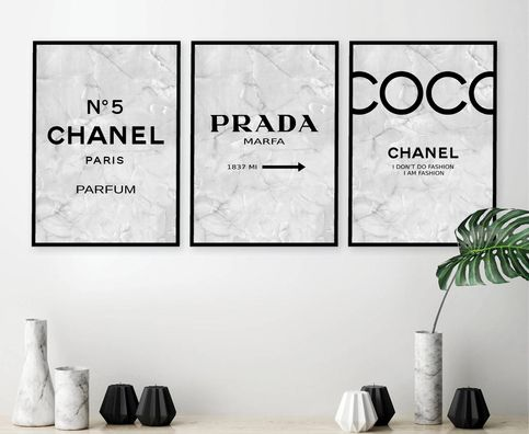 Set Of 3 Inspired Coco Chanel Art Print Poster Chanel Prints Prada Prints Prada Marfa Poster Chanel Set Chanel Decor Chanel Print Set 234 Chanel Inspired Room Chanel Wall Art Chanel Art Print