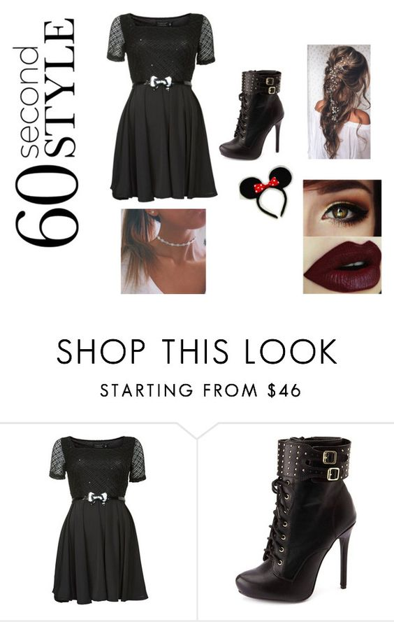 """""""Minnie Mouse"""" by shylafauscett ❤ liked on Polyvore featuring Pussycat and Charlotte Russe"""