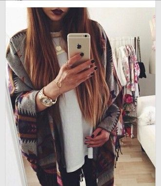 cardigan jacket style orange warm sweater outerwear wet seal forever 21 urban outfitters h&m tribal pattern fall autum grunge vintage indie beautiful blogger classy aztec native american jewels clothes