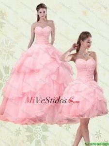 2015 lindo rebordeó vestidos de quinceañera con capas rizadas