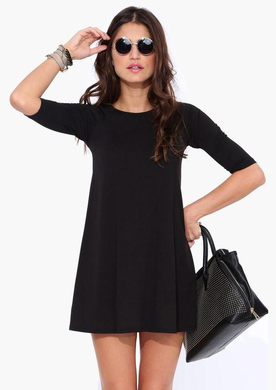 Vestido casual manga media-negro 13.59: