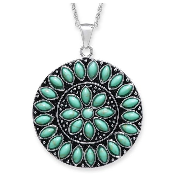 Sterling Silver Medallion Pendant - Turquoise/Silver, Women's, Turquoise/Sterling