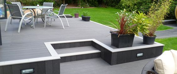 Composite decking boards manufactured in the UK, durable hard wearing, looks great whatever the weather. Easy to maintain. A lifetime of beauty & elegance.