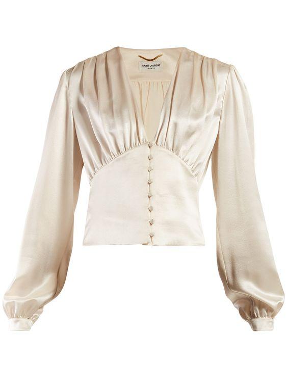 V-neck satin blouse | Saint Laurent | MATCHESFASHION.COM US