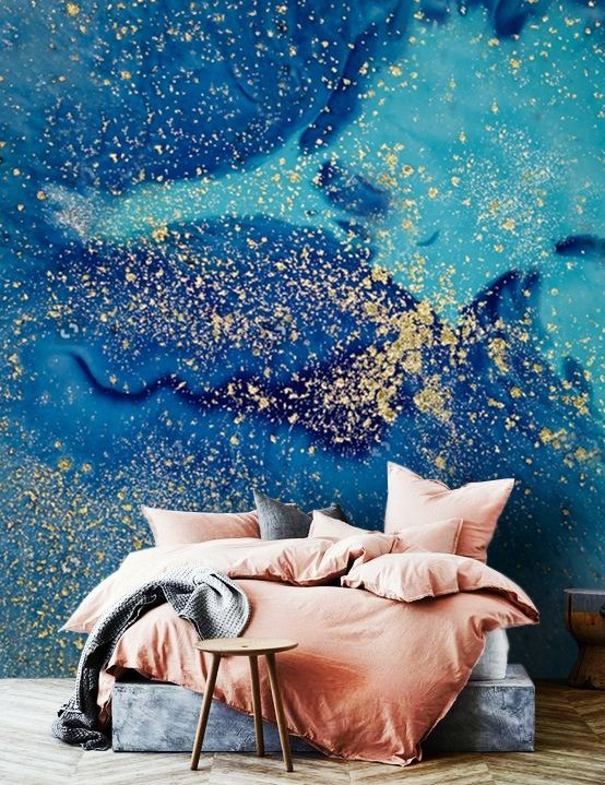 Wallpaperadhesive Vinylblue Goldabstract Sparkles In Etsy Star Sky Wallpaper Adhesive Wallpaper