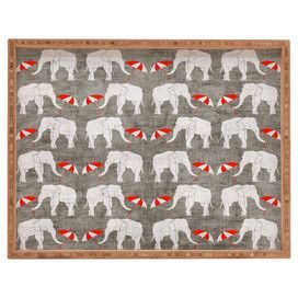 """Bamboo tray with an elephants motif by artist Holly Zollinger for DENY Designs. Made in t  Product: TrayConstruction Material: BambooColor: Gray and redFeatures:  Designed by Holly Zollinger for DENY DesignsMade in the USADimensions: Large: 1.75"""" H x 18"""" W x 14"""" DExtra Large: 2.25"""" H x 22.5"""" W x 17"""" D"""