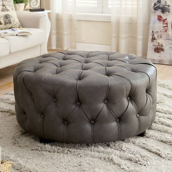 Leather Tufted Round Ottoman