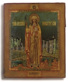 Icon of St. Nina, Equal to the Apostles and Enlightener of Georgia, Palekh, 20th century