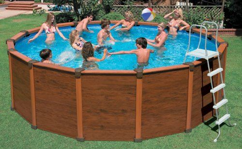 how to disguise the outside of a intex pool above ground intex sequoia spirit wood. Black Bedroom Furniture Sets. Home Design Ideas
