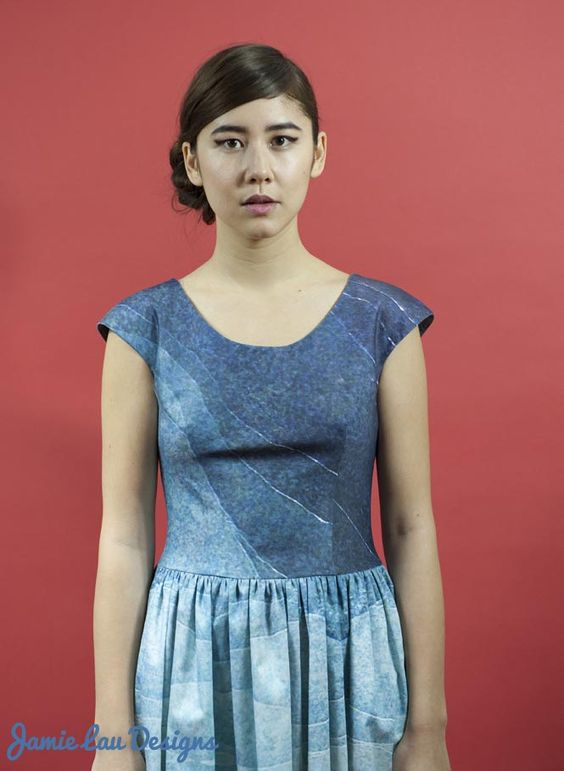 Image of Blue Gradient Gathered-Waist Dress