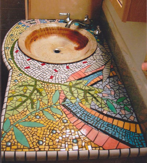 Handpainted tile mosaic counter bathroom counter mosaic for Mosaic tile bar top