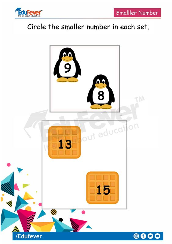 Edufever's specially designed lkg maths worksheet help the student to learn effectively. Parents can teach their children to identify the smaller number. The child has to circle the smaller number. Doing LKG worksheet activities improve the creativity and cognitive skills of the child. #preschool #kindergarten #lkgworksheets #lkgmathsworksheet #creativelearning #circlethesmallernumber
