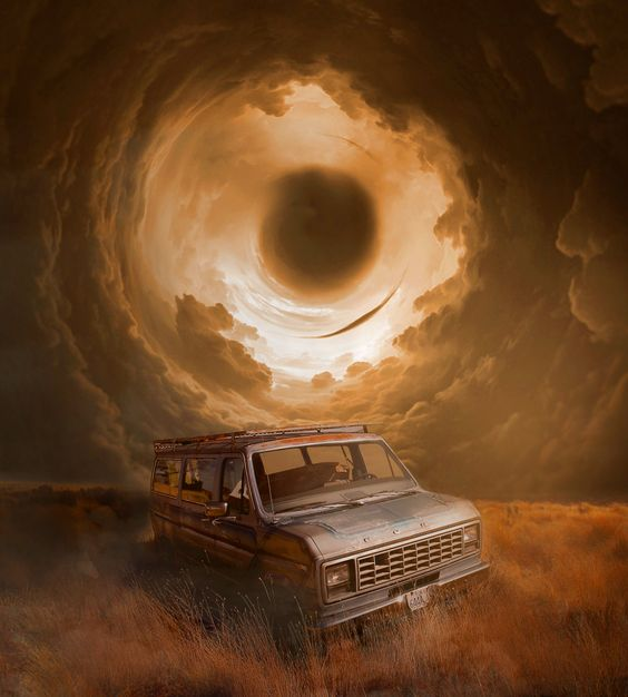 Photoshop Creative Edit Abandoned Ford Truck With Vortex Storm