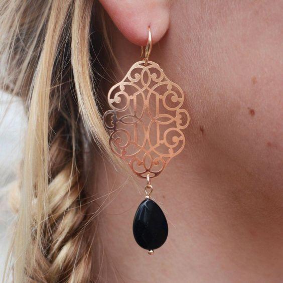 My Jewellery - Oorbellen Baroque Chandeliers RoseGold Black - Luxedy - 2