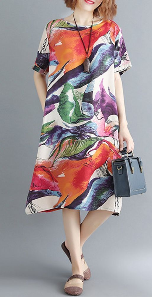 unbrand Printed Pocket Short-Sleeved Dress Casual Dress
