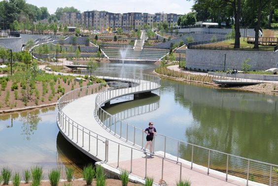 The 17 acre historic fourth ward park that includes an for Design of stormwater detention ponds