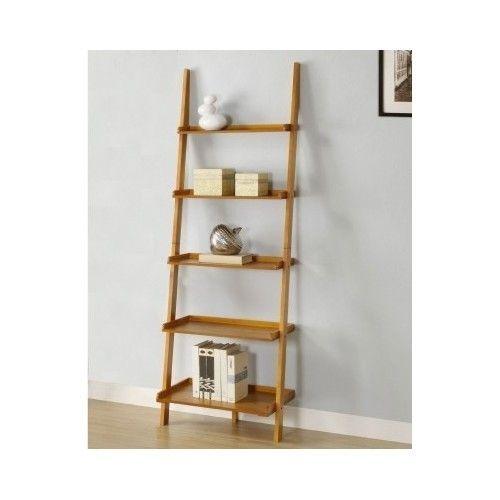 Wall Book Shelf Leaning Ladder Bookcase Oak Wooden Rack Holder Stand Furniture Shelves