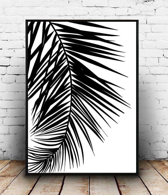 Black And White Leaf Print Monsterat Botanical Plant Wall Art