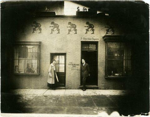 Elyzabeth Koenig & Romayne Benjamin outside Treasure Box, ca. 1916